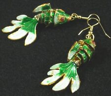 "Cloisonne' Articulated Fish Earrings Green White Blue Gold 2 1/2"" Hypoallergenic"