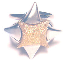 Cool ARTISAN Modernist VINTAGE Sterling 950 Vermeil DOUBLE STAR RING sz 6