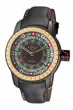 GV2 by Gevril Men's Lucky 7 Watch 9307 Automatic Spinning Caseback Black Leather