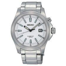 Movimiento cinético Seiko Para Hombres SKA461P1 Reloj con Cuadrante Blanco De Acero Inoxidable