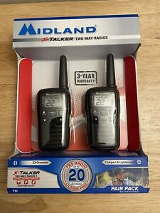 NEW Midland X-Talker Two Way Radios -Up To 20 Mile Range/22 Channels- Model T10