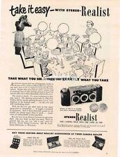 1952 Stereo Realist 3D Camera Vtg Print Ad kids birthday party art