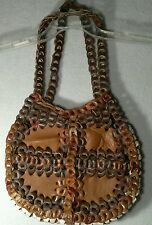 Vintage Hippie Hand Woven Leather Purse Bag Handmade & RARE! Rockabilly Cool!