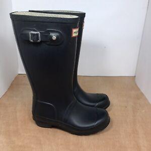 Hunter Original Tall Black Matte Rubber Rain Boots Kids Youth Size 2