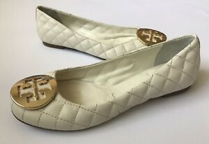 Tory Burch Women's White Quilted Flats Balerinas Size 6 M