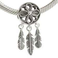 925 Sterling Silver Spiritual Dream Catcher Dangle Charm Fit European Bracelet