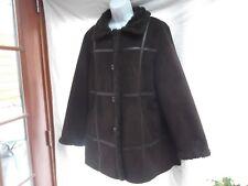 Liz Claiborne brn L faux fur faux suede faux shearling winter coat jacket MINT