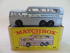MATCHBOX LESNEY 66/66c GREYHOUND COACH - . MIB/BOXED. RARE CLEAR WINDOWS.