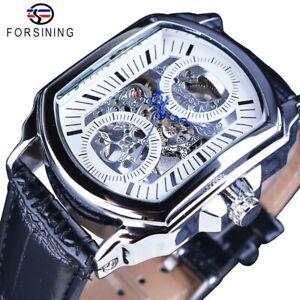 Hollow Skeleton Mechanical Watch Rectangular Luxury Men's Business Wristwatch