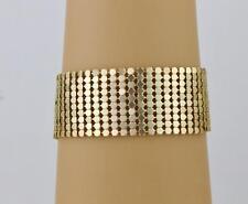 "Gold metal mesh bracelet lightweight liquid mesh 1"" wide bracelet 7-9.5"" long"