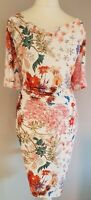 Womens Per Una White Floral Butterfly Draped Stretch Lined Wiggle Dress 22 New.