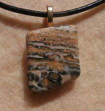 "Leopard Skin Jasper Pendant Black Leather Cord Necklace Gold Tone Clasp 18""+"