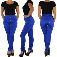 Damen Jeans High Waist Röhrenjeans Stretchjeans Hochschnitt Corsage Hose blau