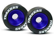 Traxxas 1/10 Rustler XL-5 * 2 WHEELIE BAR TIRES & WHEELS - BLUE * 5186A