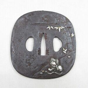 D1913: High-class old iron big TSUBA (Japanese sword guard) of great tiger inlay