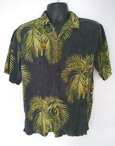 Tommy Bahama Palm Frond 100% Silk Short Sleeve Button Down Shirt - Size S
