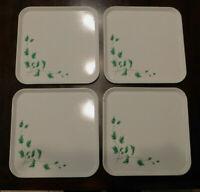"Vintage SERV-A-DISH Square Metal Trays Ivy Pattern Set of 4 White 10 3/4"" square"