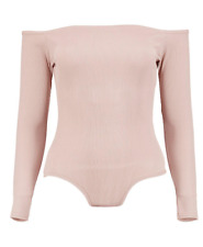 Boohoo Frances Rib Off The Shoulder Longsleeve Body-Color Nude-Size 2 NWT