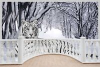 Huge 3D Balcony Snow Tiger Wall Stickers Mural Wallpaper S18