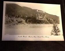 Vintage Real Photo PC North Bend Boston Bar Aerial Car Ferry BC Canada Unused