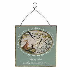 """Sass & Belle Vintage """"fairy Tales Can Come True"""" Sign Hanging Decoration 15x15cm"""