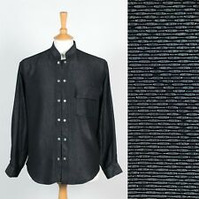 MENS VINTAGE SHINY GREY SHIRT DOUBLE BUTTON MANDARIN COLLAR ASIAN EASTERN M