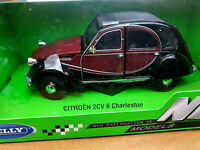 Citroen 2CV Charleston Amaranto Nera - Scala 1:24 Die Cast Welly Nuova