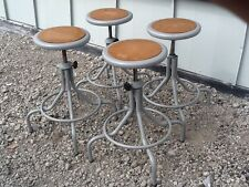 "4 - Wide Base Industrial 360 Metal Stools - Adjust 22"" To 28"" -Wood Board Center"