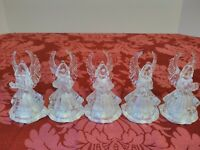 5 Vintage Clear Plastic ANGEL Light up Multi- Color Christmas Ornament RARE