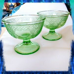 Vintage Glassware Green Depression Glass Georgian Lovebirds Dinner Plates Federal Glass Company Parakeets Antique Glassware Country Kitchen