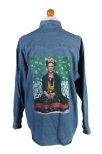 Frida Printed Unisex Denim Shirt Long Sleeve Reworked Retro L Mid Blue - SH3993