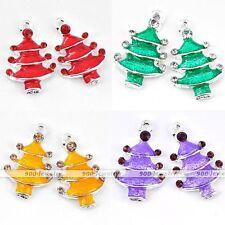 5X Silver Plated Enamel Rhinestone Xmas Christmas Tree Charms Pendant Bead DIY