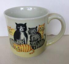 Otagiri Ceramic Mug Cats Multicolor Orange Gray Yellow Black