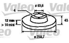 VALEO Juego de 2 discos freno Antes 239,5mm FORD FIESTA KA MAZDA 121 186529