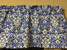 Blue Damask Demask Bedroom Kitchen Window Valance Decor