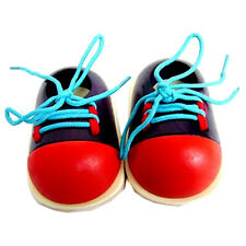 Children Kids Educational Toys  Learn How To Tie Shoelace Wooden Shoes Gifts Hot