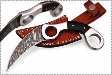 Beautiful Damascus Handmade Karambit Knife with Buffalo Horn Handle (W41)
