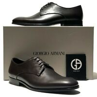Giorgio Armani Brown Leather Formal Dress Derby Oxford Men's Shoes X2C340 Tuxedo