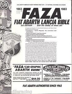 FAZA FIAT-ABARTH-LANCIA BIBLE 5th Ed. 1963-1983 20th Anniversary Edition Catalog
