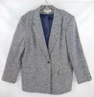 Orvis Women's Size 20 Wool Blend Gray Sharkskin One Button Blazer Jacket
