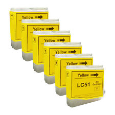 6 YELLOW New LC51 Ink Cartridge for Brother MFC-230C MFC-235C MFC-240C MFC-260C