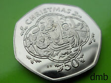 """1993: IOM: la Isla de Man """"Natividad Escena 'BUNC Navidad 50p: 50 Peniques Moneda."""