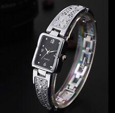 Womens Sleek Square Stainless Steel Analog Quartz Bracelet Dress Wrist Watch