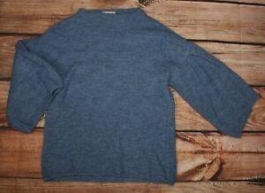 Nutmeg Ladies Blue High Neck Soft Sweater Jumper UK 14 Bell Sleeve