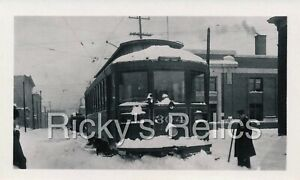 B&W Photo Grand Rapids Railroad #304 MI Interurban 1930s GRRR SNOW