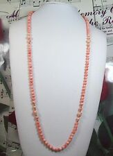 Genuine 6mm Natural Pink Coral Necklace 30 Inches.CN013