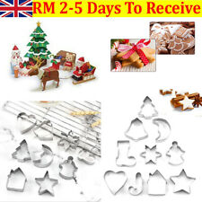 10PCS Christmas Metal Cookie Cutters Star Tree Bell Angel Candy Cane Biscuit UK