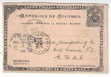 1903 Colombia 5c Coat of Arms Postal Card, to East Syracuse NY
