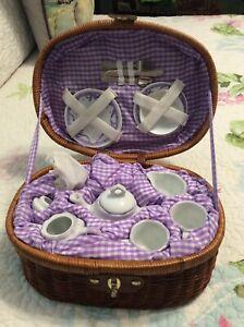 Delton Children's Porcelain Tea Set Wicker Basket PURPLE BALLERINA New In Basket