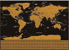 Scratch the World Gold and Black Country Flags Scratch Off World Map Poster